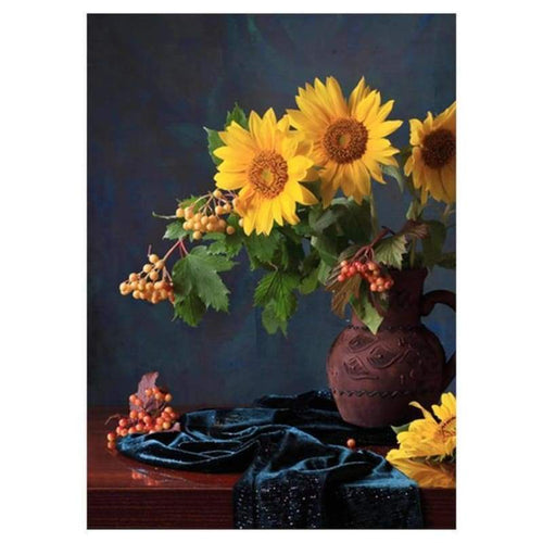 5D DIY Diamond Painting Kits Artistic Yellow Sunflowers in Vase - 3