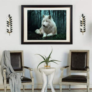 5D DIY Diamond Painting Kits Special White Wolf in the Dark Forest - 4