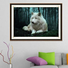 Load image into Gallery viewer, 5D DIY Diamond Painting Kits Special White Wolf in the Dark Forest - 4