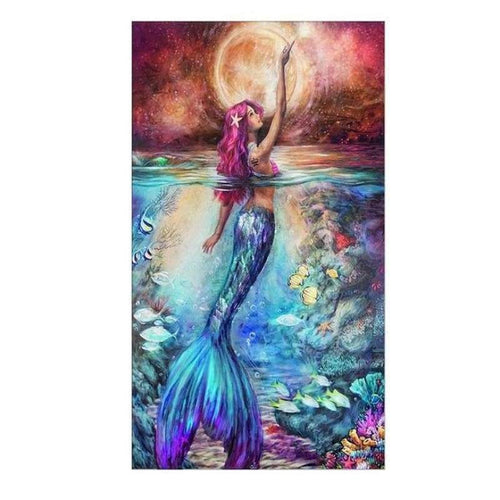 5D DIY Diamond Painting Kits Cartoon Beautiful Mermaid in the Sea - 4