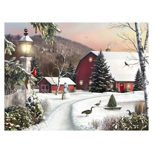 Full Drill - 5D DIY Diamond Painting Kits Dream Winter Landscape Cottage - NEEDLEWORK KITS