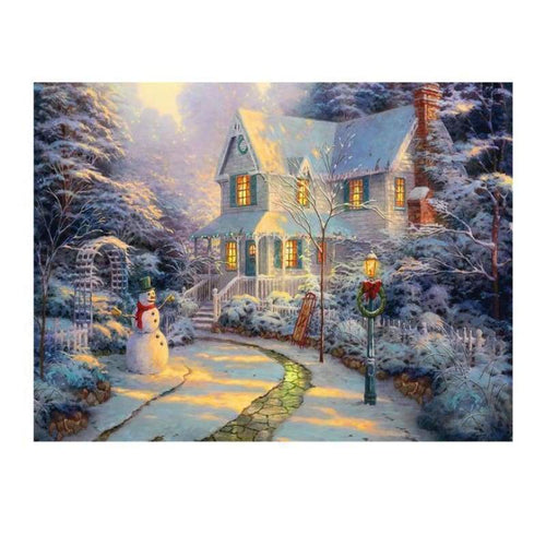 5D DIY Diamond Painting Kits Dream Winter Landscape Cottage - 3