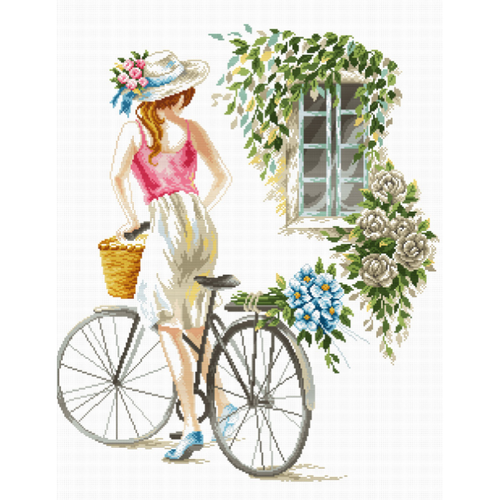 Bicycle Girl - Stamped Cross Stitch Kits