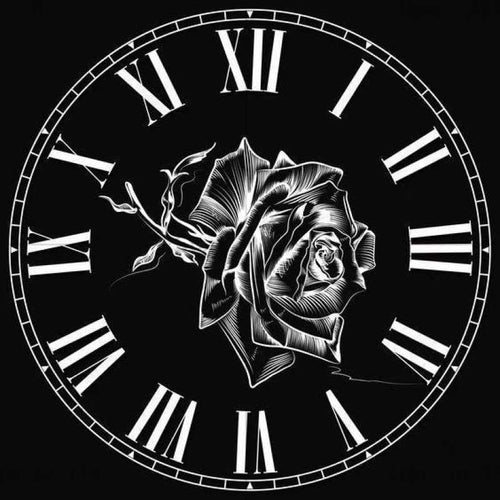 5D DIY Diamond Painting Kits Black White Rose Clock