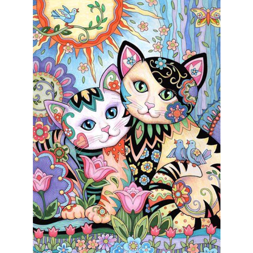 5D DIY Diamond Painting Kits Cartoon Abstract Colorful Cats Lover - Z5