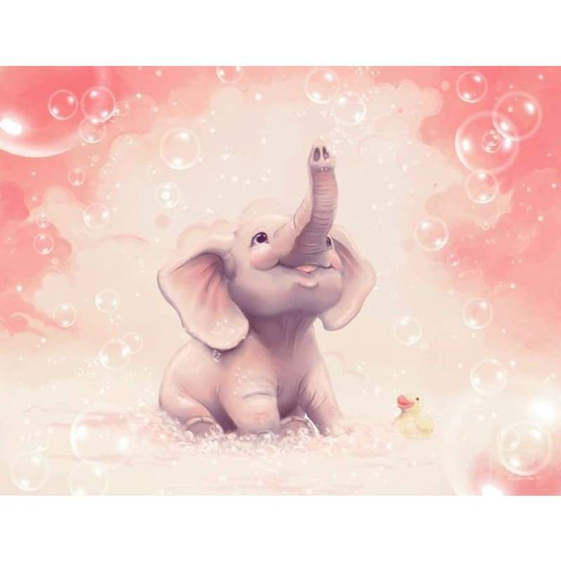 5D DIY Diamond Painting Kits Cartoon Happy Cute Elephant Baby - Z5