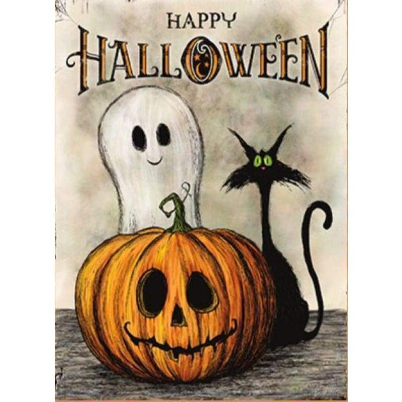 5D DIY Diamond Painting Kits Cartoon Halloween Pumpkin Ghost Cat - Z3