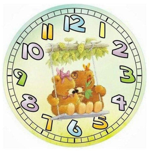 5D DIY Diamond Painting Kits Cartoon Bear Swing Clock