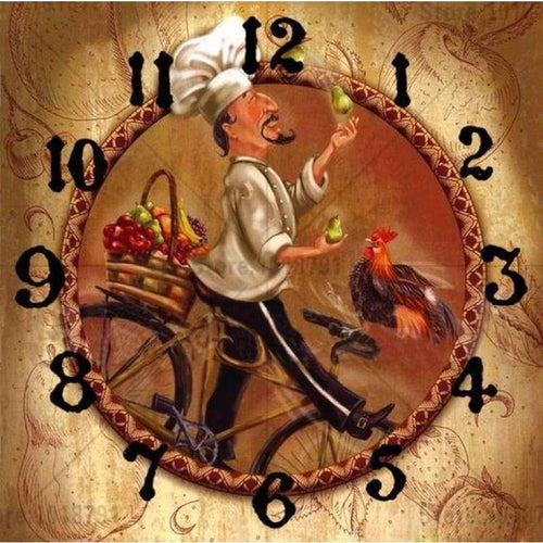5D DIY Diamond Painting Kits Cartoon Cook Clock