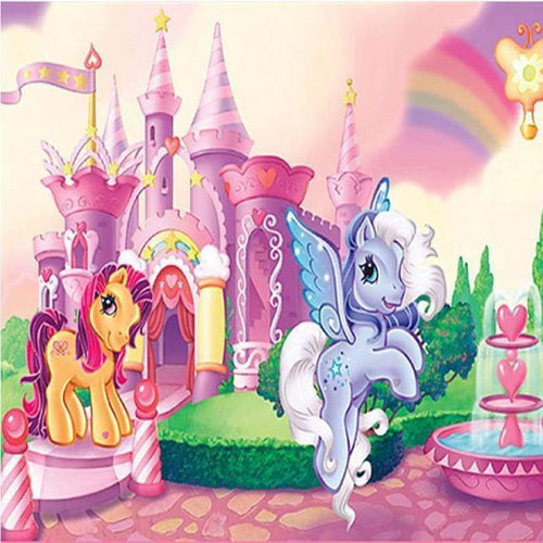 Full Drill - 5D DIY Diamond Painting Kits Cartoon Entry Level Castle Unicorns - NEEDLEWORK KITS