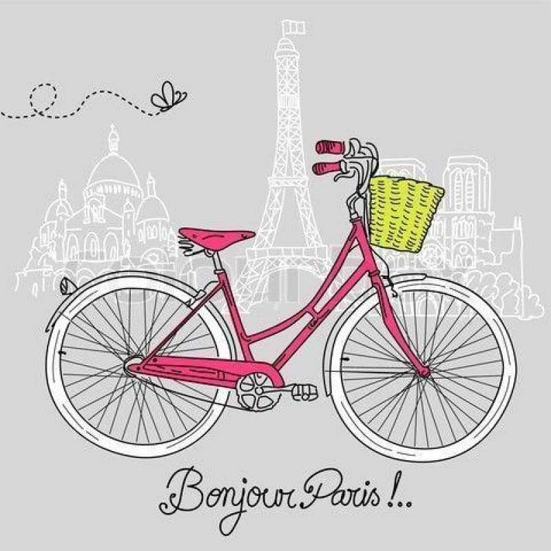 5D DIY Diamond Painting Kits Cartoon Pink Bicycle