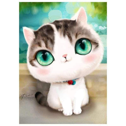 5D DIY Diamond Painting Kits Cartoon Cute Big Eyes Cat - 3