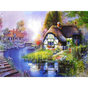 5D DIY Diamond Painting Kits Cartoon Lakeside Cottage - Z3