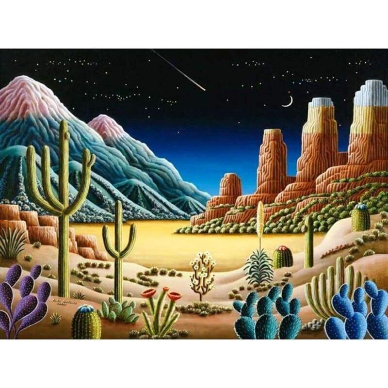 5D DIY Diamond Painting Kits Cartoon Plant Cactus Night Dessert Scene - 4