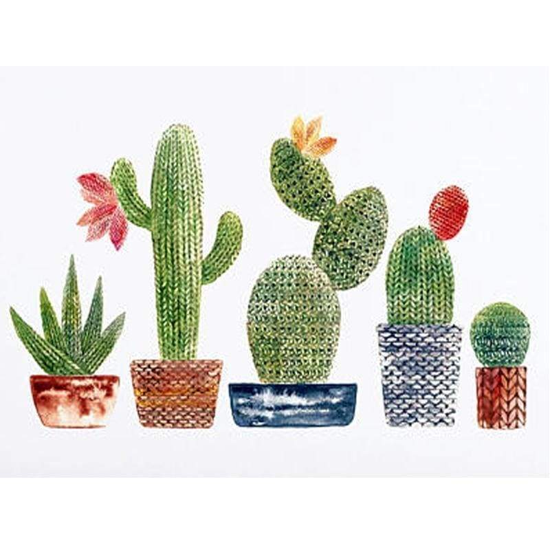 5D DIY Diamond Painting Kits Cartoon Plant Cactus - 5