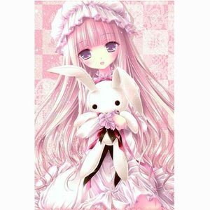 5D DIY Diamond Painting Kits Cartoon Pretty Cute Pink Girl and Rabbit - 5