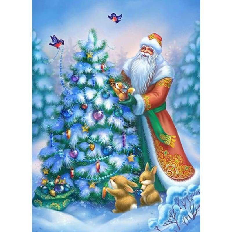 5D DIY Diamond Painting Kits Cartoon Santa Claus And Christmas Tree - 3