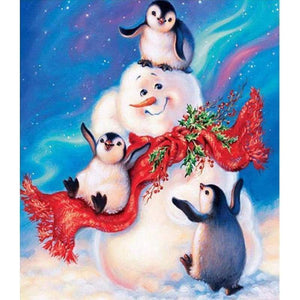 5D DIY Diamond Painting Kits Cartoon Snowman Piquant Penguins Baby - Z3