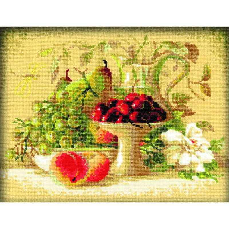 Still Life With Sweet Cherries - Cross Stitch