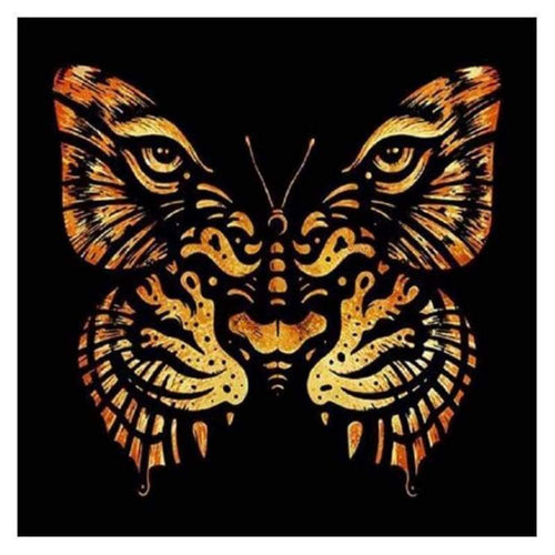 5D DIY Diamond Painting Kits Abstract Tiger Face Butterfly