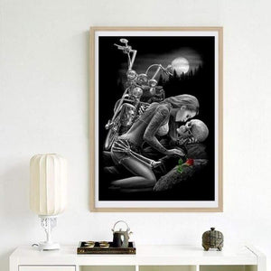 Full Drill - 5D DIY Diamond Painting Kits Sexy Black And White Skull and Beauty - NEEDLEWORK KITS