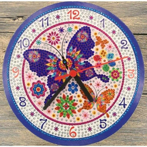 5D DIY Diamond Painting Kits Cartoon Cute Butterfly Cartoon Clock