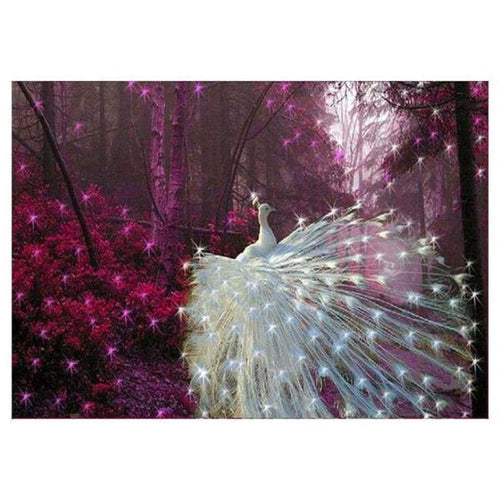 Full Drill - 5D DIY Diamond Painting Kits Dream White Shine Peacock - NEEDLEWORK KITS
