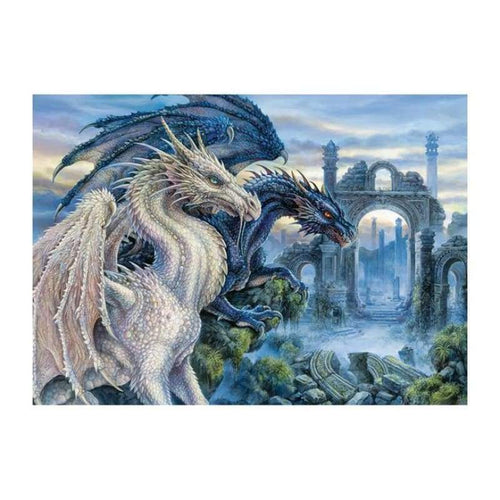 5D DIY Diamond Painting Kits Fantasy Blue White And Blue Dragons Lover - 4