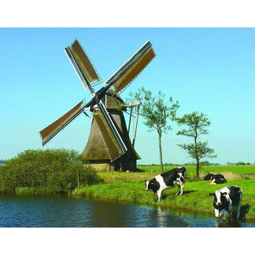 5D DIY Diamond Painting Kits Nature Windmill Lakeside Cows - 3