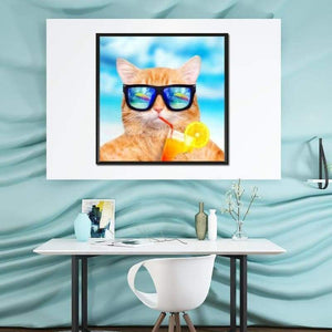 5D DIY Diamond Painting Kits Cartoon Funny Cute Cat
