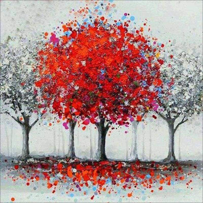5D DIY Diamond Painting Kits Cartoon Dream Red Tree