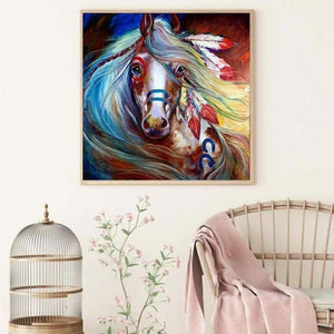 Full Drill - 5D DIY Diamond Painting Kits Colorful Horse Indian - NEEDLEWORK KITS