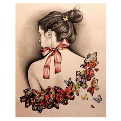5D DIY Diamond Painting Kits Beautiful Back of Girl Butterfly - 3