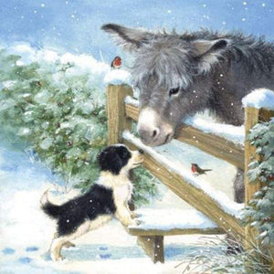 Full Drill - 5D DIY Diamond Painting Kits Winter Cartoon Dog and Donkey - NEEDLEWORK KITS