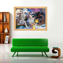 Load image into Gallery viewer, 5D DIY Diamond Painting Kits Cartoon Dragon and Tiger Battle - 4
