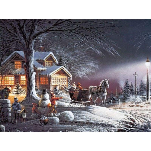 5D DIY Diamond Painting Kits Dream Christmas Snow landscape Cottage - Z3