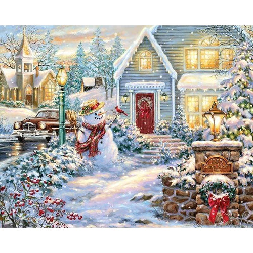 Full Drill - 5D DIY Diamond Painting Kits Cartoon Christmas Snowman Cottage - NEEDLEWORK KITS
