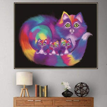 Load image into Gallery viewer, Full Drill - 5D DIY Diamond Painting Kits Dream Colorful Chromatic Cats Family - NEEDLEWORK KITS
