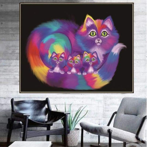 5D DIY Diamond Painting Kits Dream Colorful Chromatic Cats Family - 3