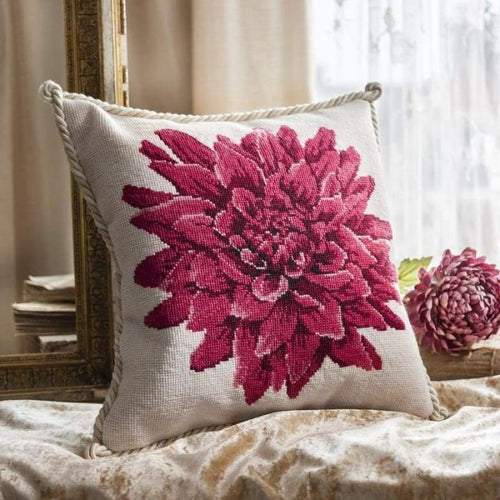 Dahlia (Winter White Background) - Tapestry and Needlepoint Kits