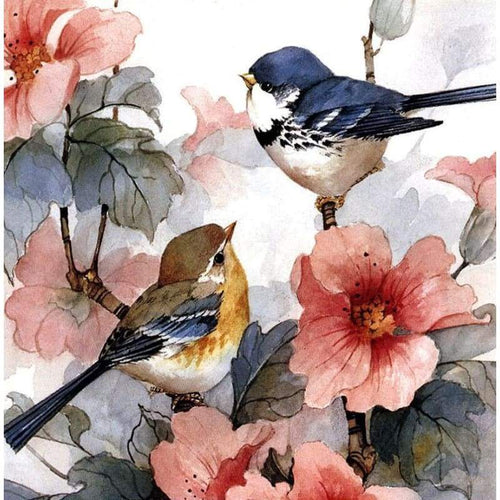 5D DIY Diamond Painting Kits Cartoon Two Birds on the Flower Branch - Z0
