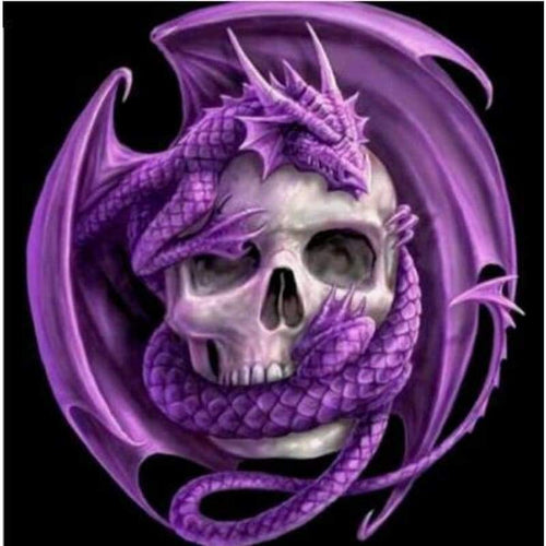 5D DIY Diamond Painting Kits Purple Dragon Skull - Z0