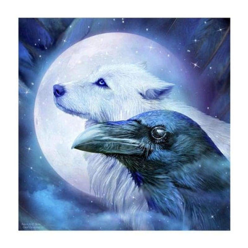 5D DIY Diamond Painting Kits Dream Moon Colorful Sky Wolf and Eagle
