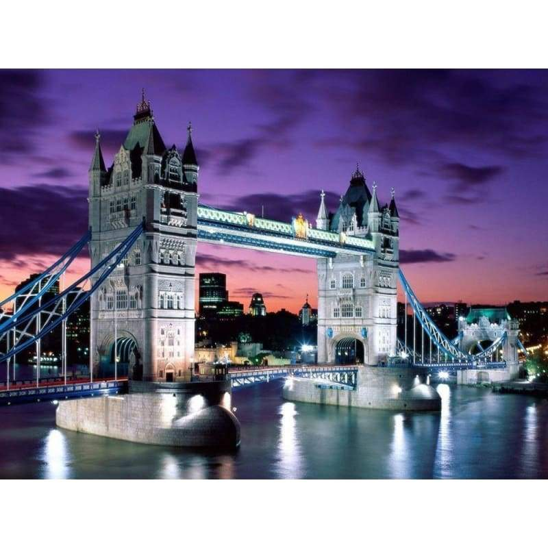 Full Drill - 5D DIY Diamond Painting Kits Dream City London Bridge Night Scene - NEEDLEWORK KITS