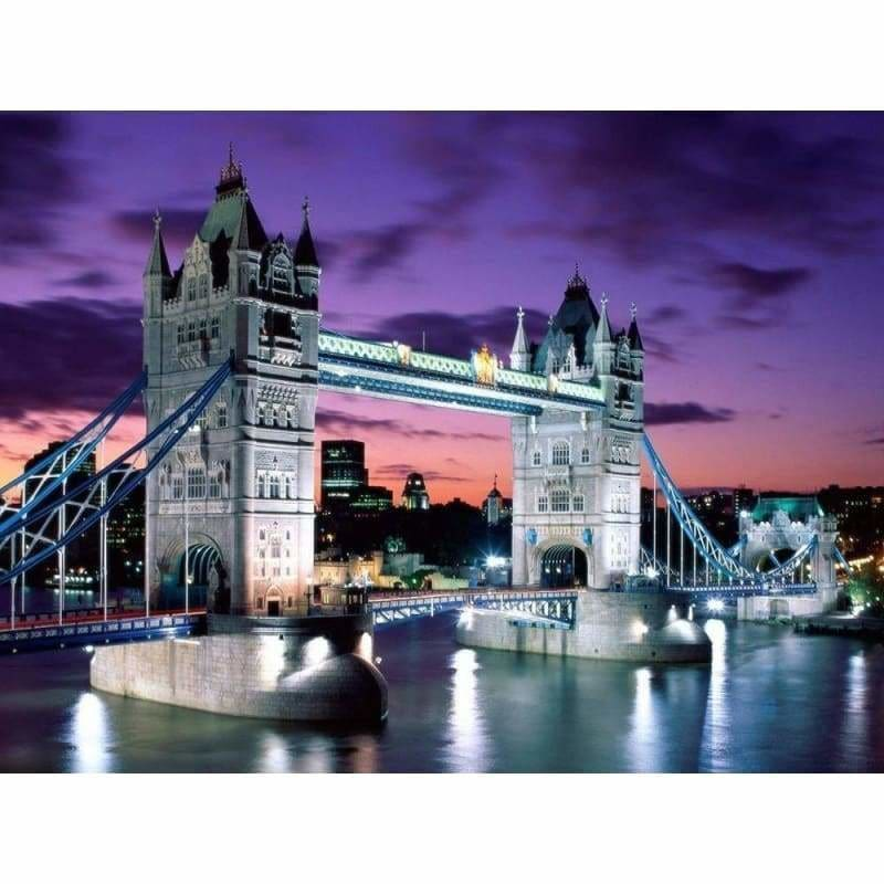 Full Drill - 5D DIY Diamond Painting Kits Dream City London Bridge Night Scene