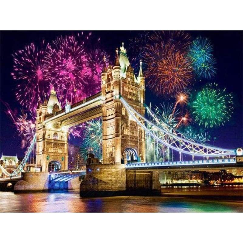 Full Drill - 5D DIY Diamond Painting Kits Dream City Fireworks Show London Bridge - NEEDLEWORK KITS