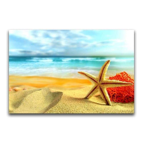5D DIY Diamond Painting Kits Beautiful Starfish Beach Seaside - 5
