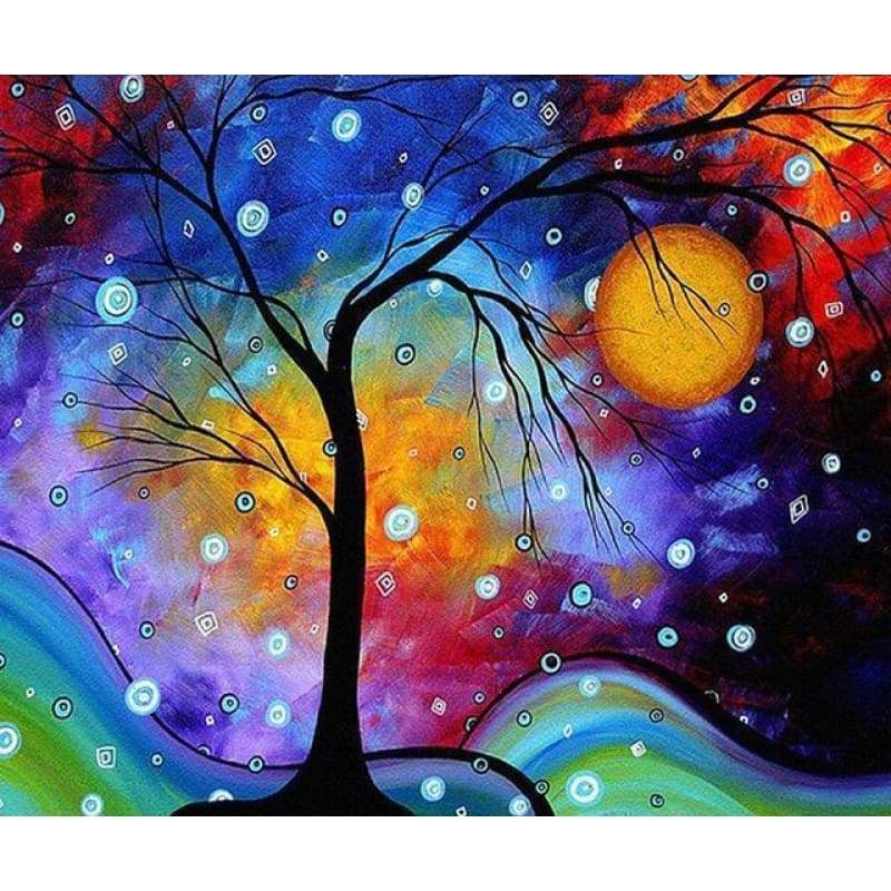 5D DIY Diamond Painting Kits Cartoon Dream Modern Art Night Starry Tree - 2