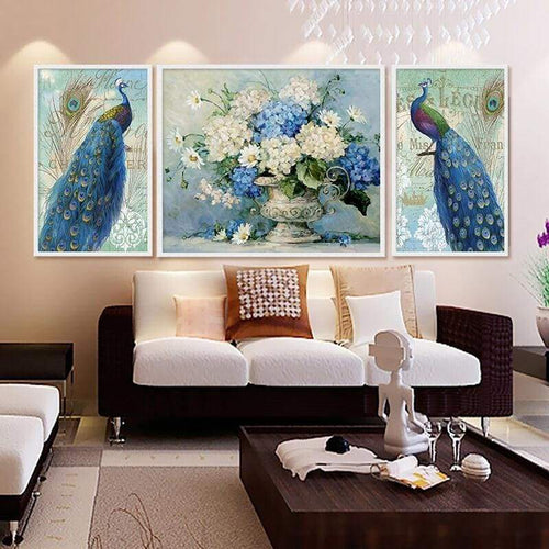 Full Drill - 5D DIY Diamond Painting Kits Fantastic Beautiful Peacock Flower - NEEDLEWORK KITS