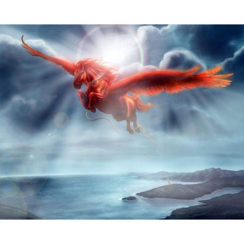 5D DIY Diamond Painting Kits Fantastic Dream Red Flying Dragon - Z5